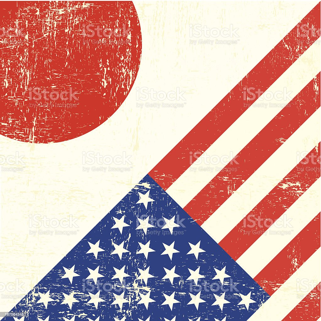 USA and japanese grunge Flag vector art illustration