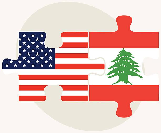 usa-und flaggen in puzzle lebanon - beirut stock-grafiken, -clipart, -cartoons und -symbole