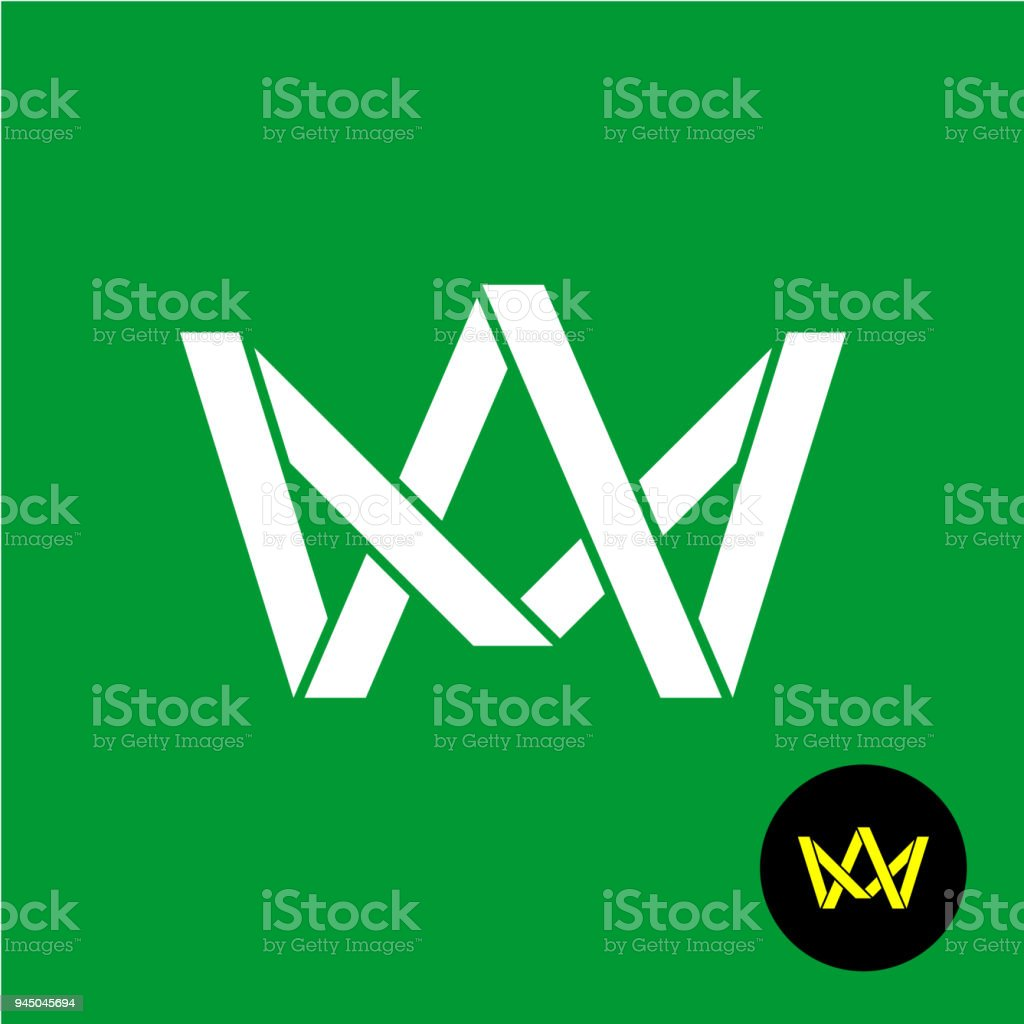 A and M letters monogram symbol. Flat ribbons style crown icon. vector art illustration