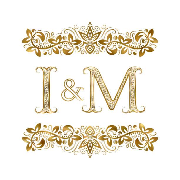 Royalty Free Patterned Golden Letter M Monogram In Vintage Style