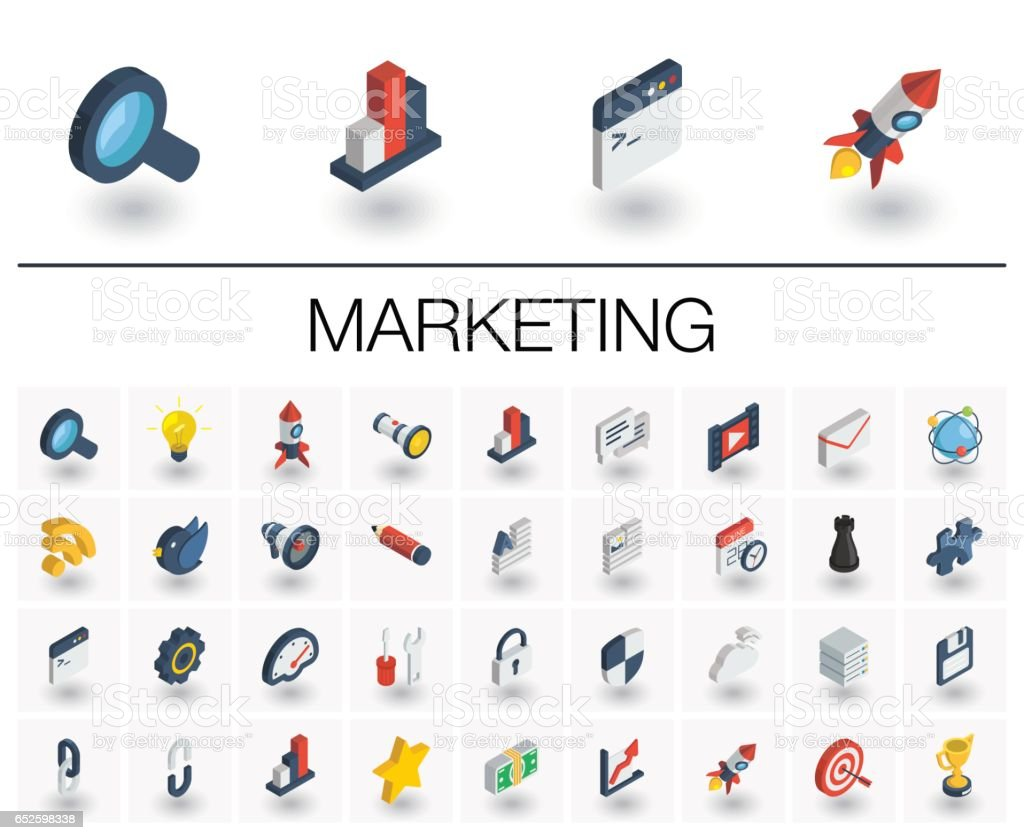 SEO and market analytics isometric icons. 3d vector vector art illustration