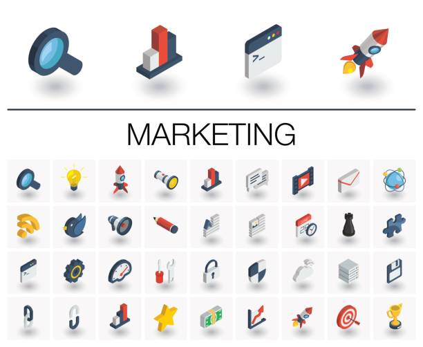 seo and market analytics isometric icons. 3d vector - 3d icons stock illustrations, clip art, cartoons, & icons