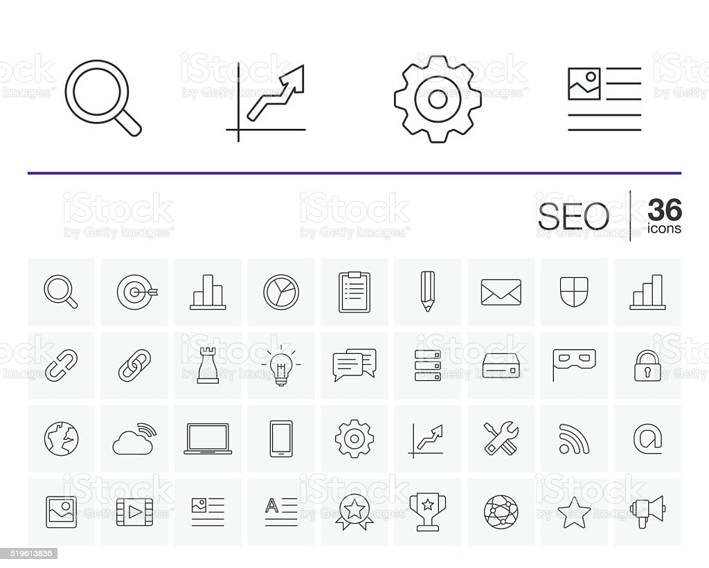 SEO and market analytics vector icons vector art illustration