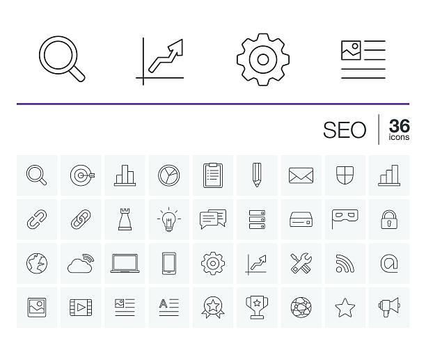 SEO and market analytics vector icons vector art illustration