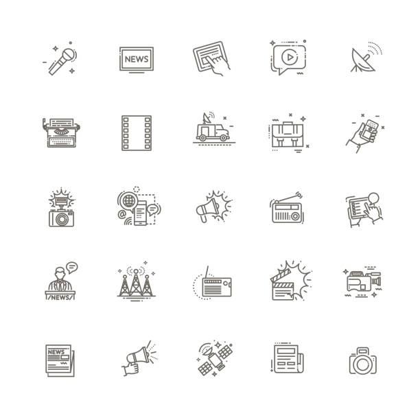 stockillustraties, clipart, cartoons en iconen met tv- en medianieuwsvectorpictogrammen ingesteld - journaal presentator