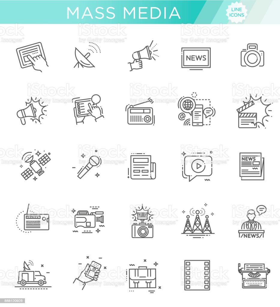 TV and media news vector icons set vector art illustration
