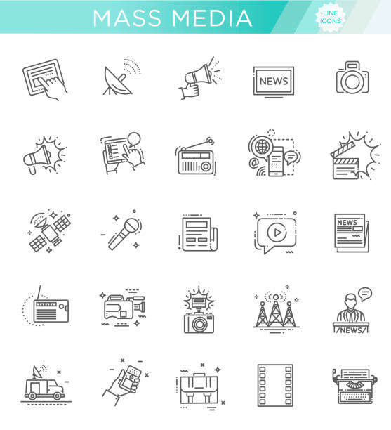 TV and media news vector icons set Set of modern vector plain line design mass media icons and pictograms broadcasting stock illustrations