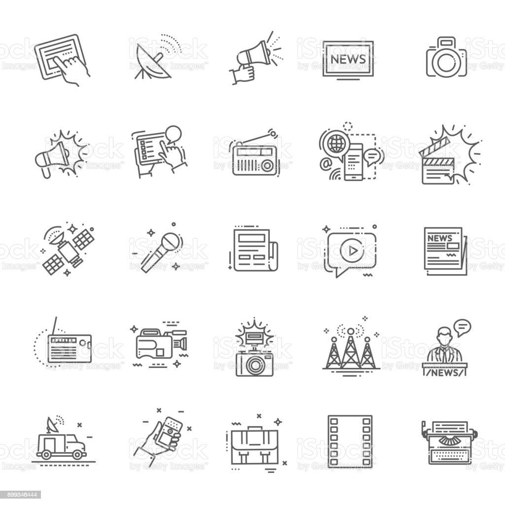 TV und Medien-News-Vektor-Icons set – Vektorgrafik