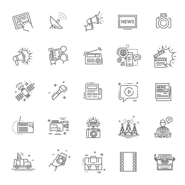 stockillustraties, clipart, cartoons en iconen met tv en media nieuws vector icons set - journalist