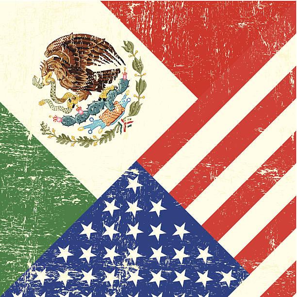 ilustraciones, imágenes clip art, dibujos animados e iconos de stock de bandera de grunge de estados unidos de américa y mexicana - bandera mexicana