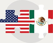 USA and Mexico Flags in puzzle