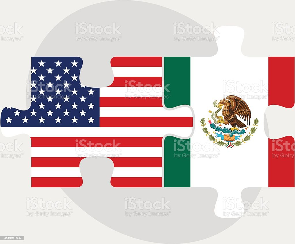 USA and Mexico Flags in puzzle vector art illustration