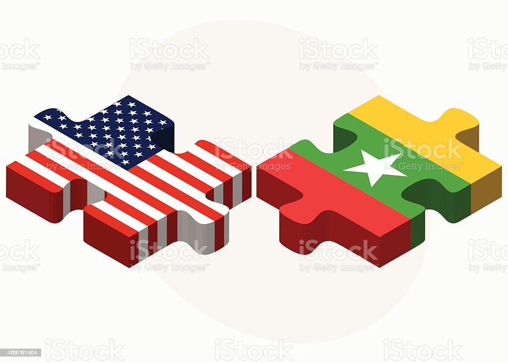 USA and Myanmar Flags in puzzle vector art illustration