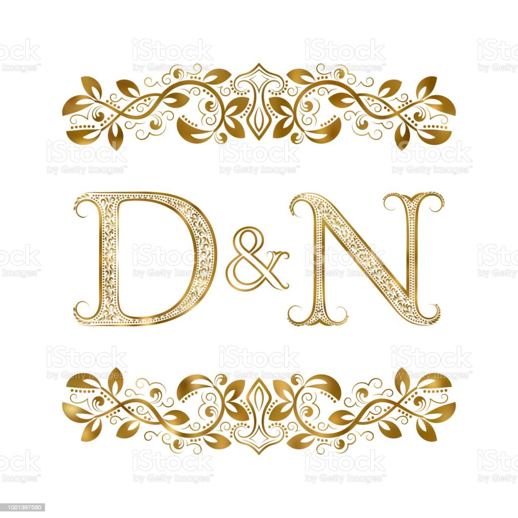 D And N Vintage Initials Symbol The Letters Are Surrounded By