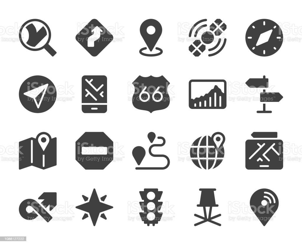 GPS and Navigation - Icons vector art illustration