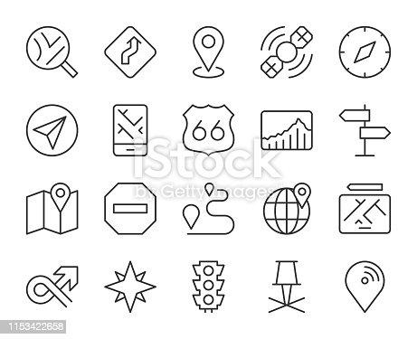 GPS and Navigation Light Line Icons Vector EPS File.