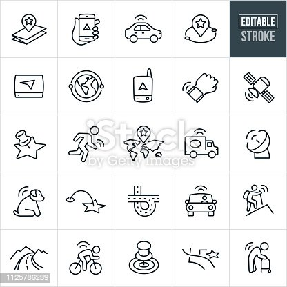 A set of GPS and navigation icons that include editable strokes or outlines using the EPS vector file. The icons include GPS, navigation, map, smartphone, car using navigation, map marker, GPS device, watch, satellite, satellite dish and tracking devices. They also include GPS tracking for sports, hiking, pets, cycling and the elderly.