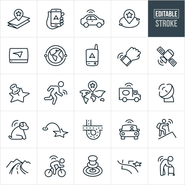 gps and navigation thin line icons - editable stroke - в пути stock illustrations