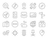 GPS and Navigation Thin Line Icons Vector EPS File.