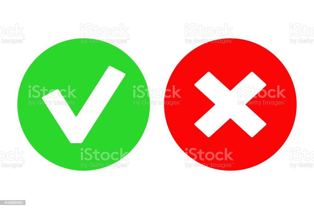 Yes Button And No Button Vector Icon Stock Illustration