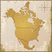 An old fashioned North America map on a grungy paper. Hires JPEG and EPS file included!