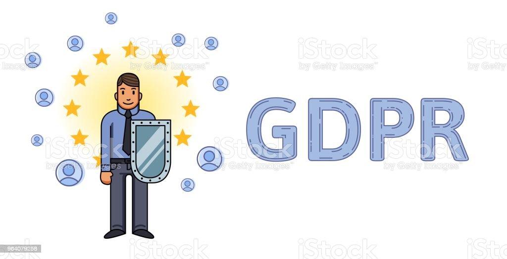 GDPR、オンライン セキュリティ。ヨーロッパの星と個人のアカウントの間でシールドを持つ男。GDPR の手紙。一般的なデータ保護規制。平面ベクトルの概念図。分離されました。 - EU一般データ保護規則のロイヤリティフリーベクトルアート