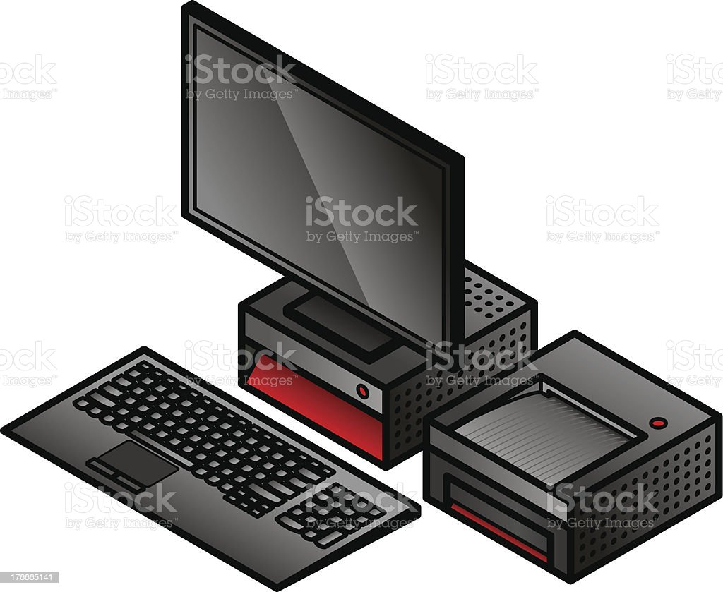 PC and Printer royalty-free pc and printer stock vector art & more images of computer printer