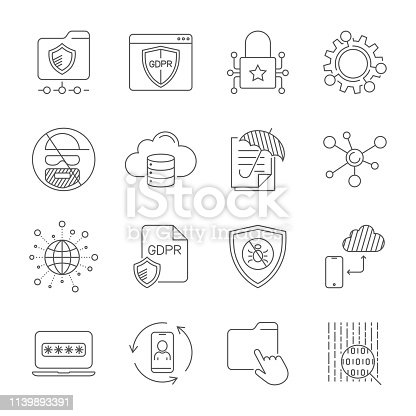 GDPR and Privacy Policy, Digital Protection, Security Technology, simple icons set. Editable Stroke. EPS 10