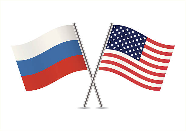 usa and russia flags. - russian flag stock illustrations, clip art, cartoons, & icons
