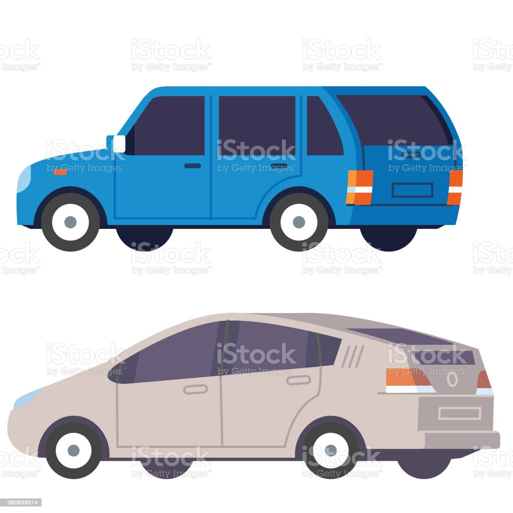 SUV and Saloon car vector art illustration