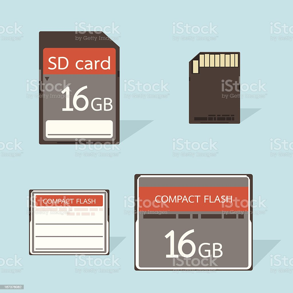 CF and SD memory card royalty-free cf and sd memory card stock vector art & more images of business