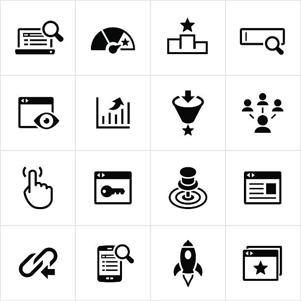 SEM and SEO Icons Black search engine marketing and search engine optimization icons. SEM, SEO, online marketing, marketing, icons, symbols. sem stock illustrations