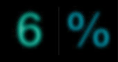 Number 6 and percent sign (%).This vector file is part of the 'neon half tone design set', playing with circular half tone raster imitating glow effects as known by neon lights.