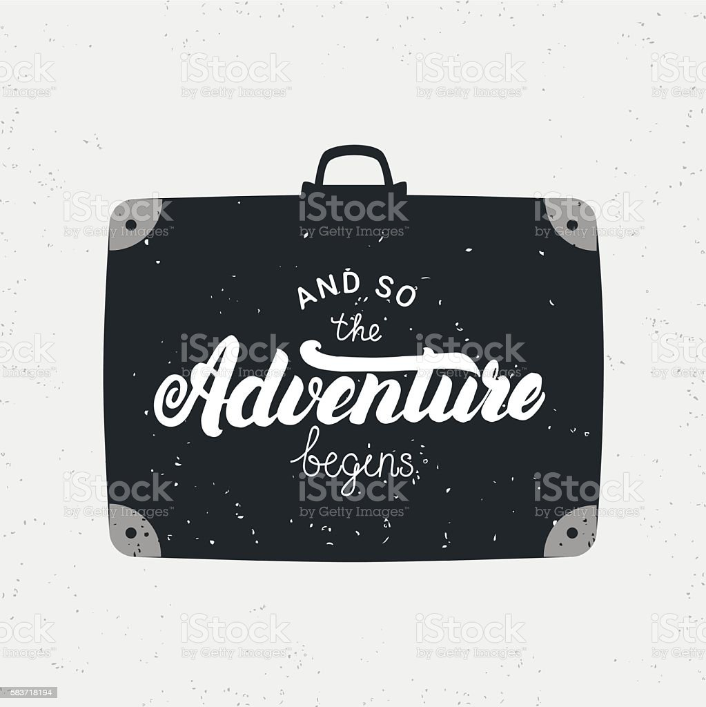 And so the adventure begins card. vector art illustration