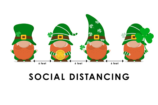 COVID-19 and social distancing infographic with cute gnomes in saint Patrick's day holidays. Fairytale cartoon character in flat style. Corona virus protection. -Vector