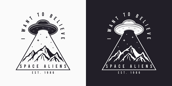 UFO and space design for t-shirt with spaceship, mountains and slogan text. Typography graphics for tee shirt. Apparel print in UFO theme. Vector
