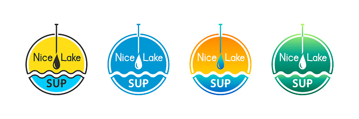 SUP and stand up paddling icon set