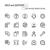 HELP and SUPPORT vector line 48x48 Pixel Perfect Icons