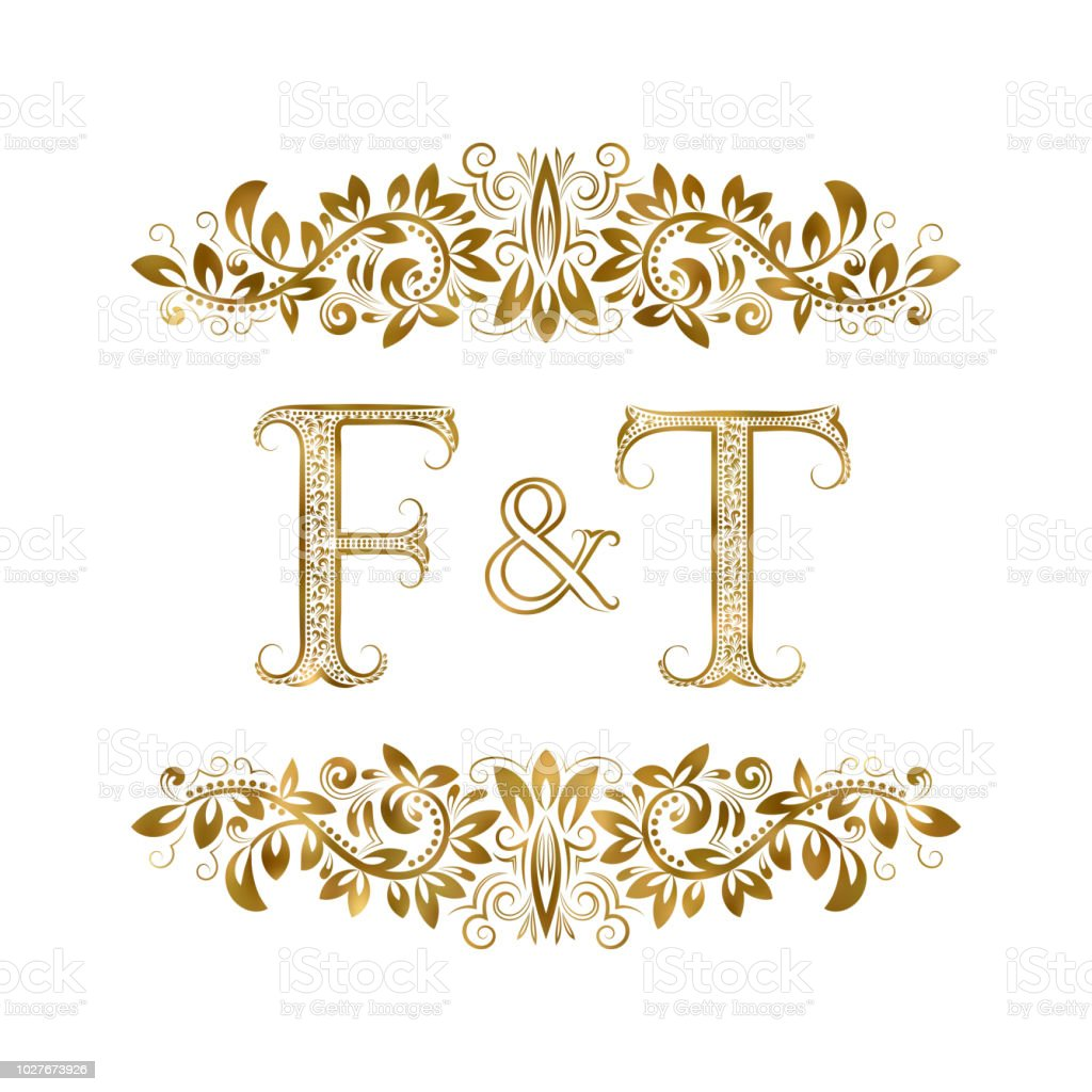 F And T Vintage Initials Symbol The Letters Are Surrounded By