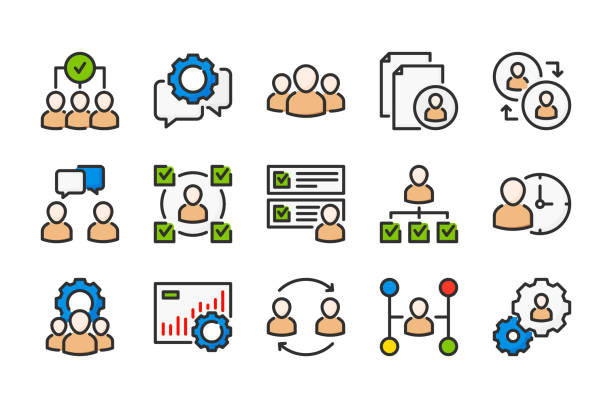 HR and Teamwork related color line icons. Business and office vector linear colorful icon set. Isolated icon collection on white background. HR and Teamwork related color line icons. Business and office vector linear colorful icon set. Isolated icon collection on white background. administrate stock illustrations