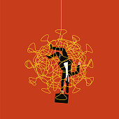 Illustration of a businessman dangling upside down, caught up in a Coronavirus web