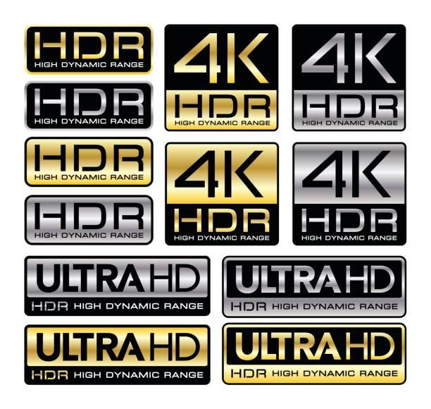 stockillustraties, clipart, cartoons en iconen met 4k en ultra hd symbolen met hdr vermelding - hdri landscape