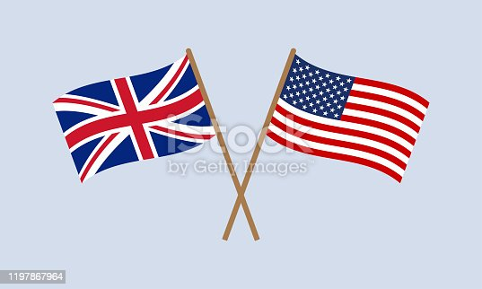 UK and US crossed flags on stick. American and British national symbol. Vector illustration.