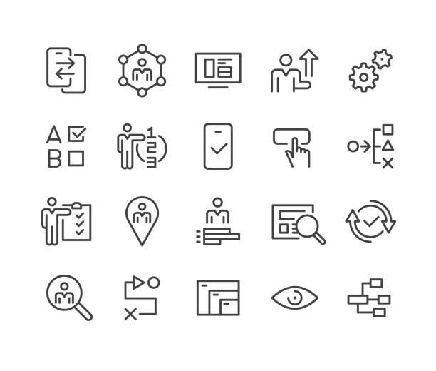 ikony interfejsu użytkownika i ux — seria classic line - ruch stock illustrations