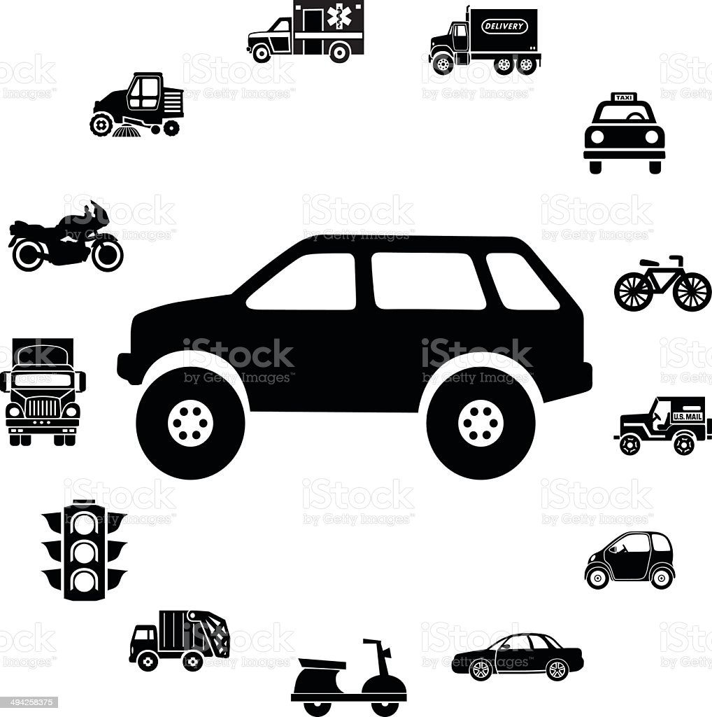 SUV and vehicles ring border vector art illustration