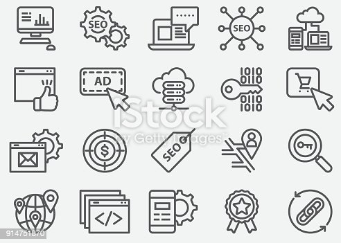 SEO and Web Developer Line Icons