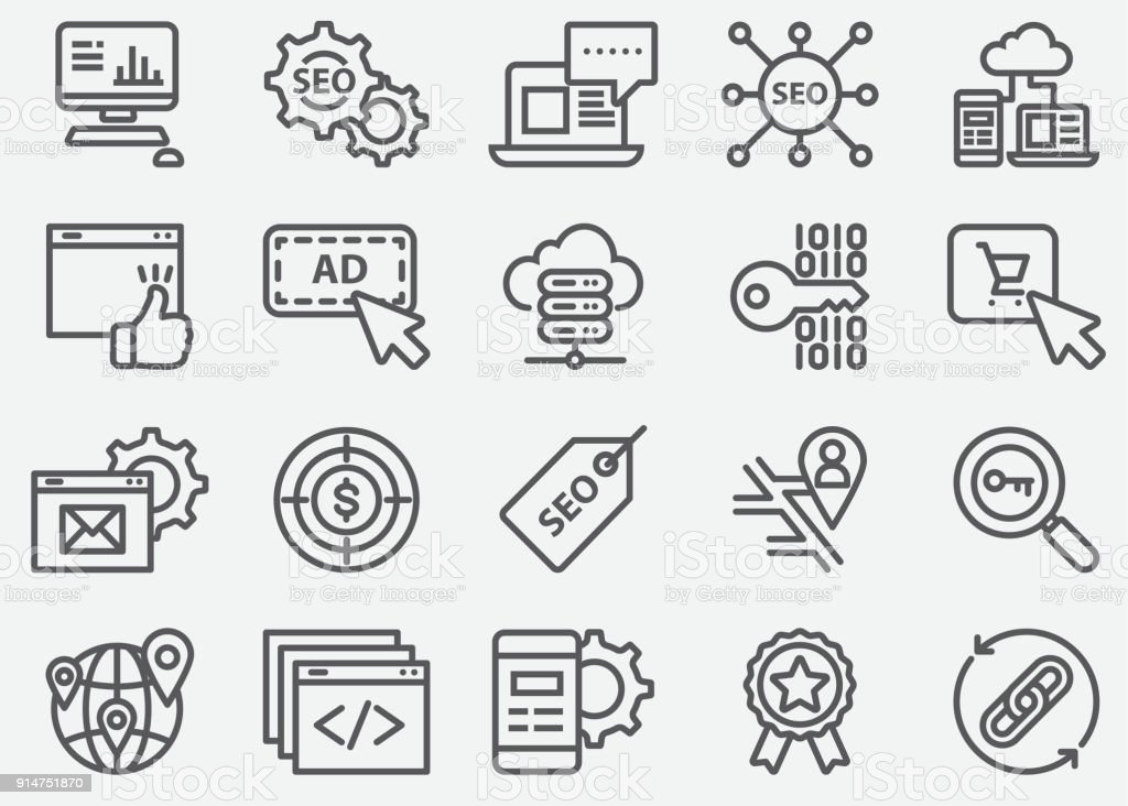 SEO and Web Developer Line Icons vector art illustration