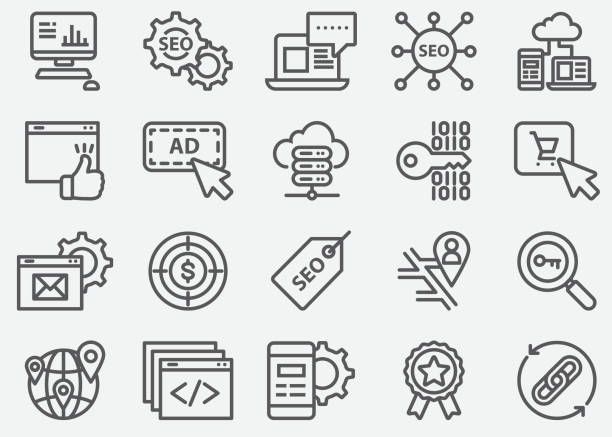 SEO and Web Developer Line Icons SEO and Web Developer Line Icons web address stock illustrations