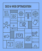 SEO and Web Optimization Concept. Geometric Retro Style Banner and Poster Concept with SEO and Web Optimization Line Icons