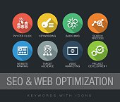 SEO and Web Optimization keywords with icons